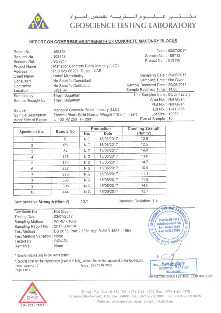 10'' THERMAL BLOCK (110 MM THERMAL INSERT) - REPORT ON COMPRESSIVE STRENGTH