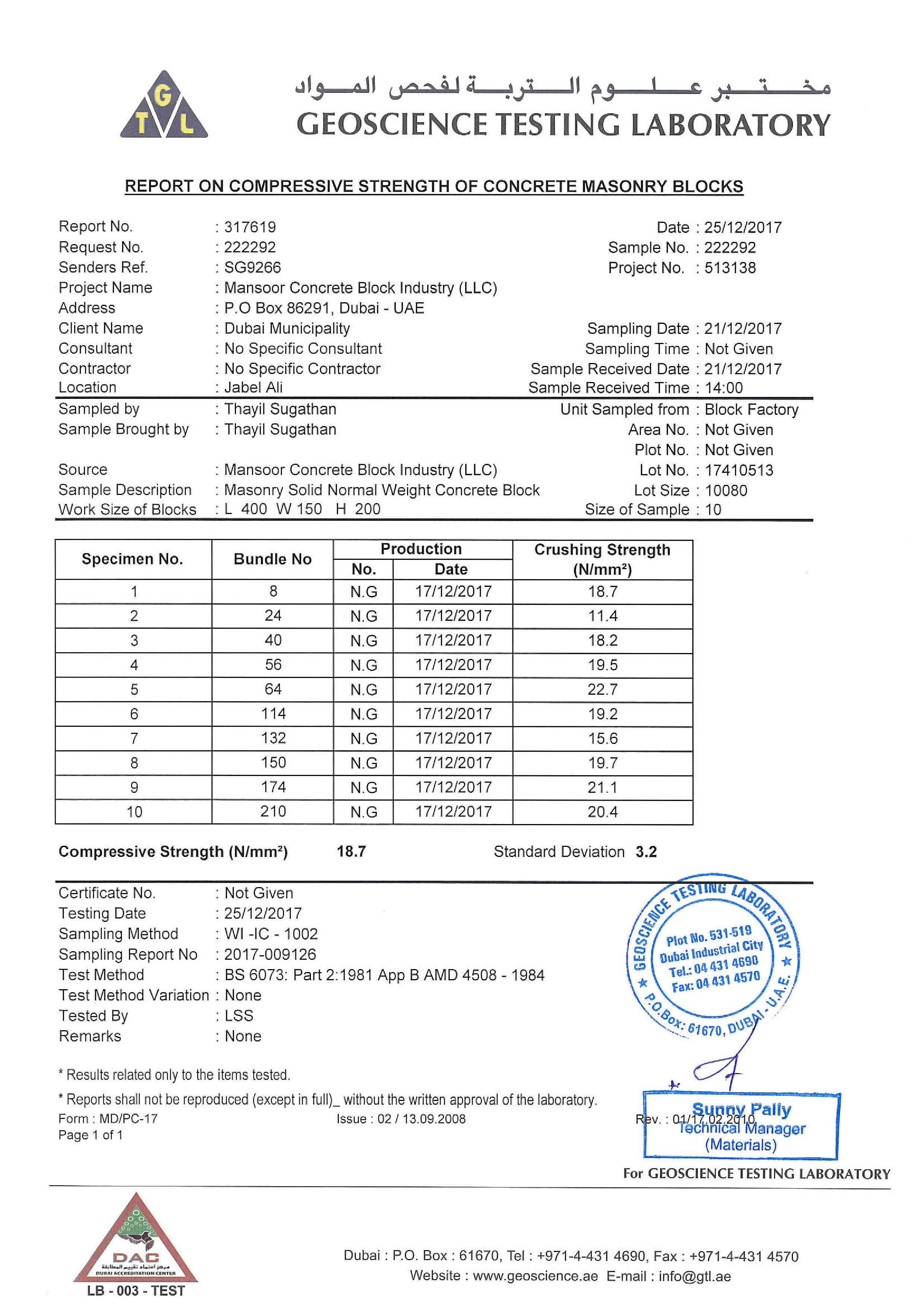 Certificates for solid blocks mansoor concrete block industry llc 6 solid block report on compressive strength 1betcityfo Images