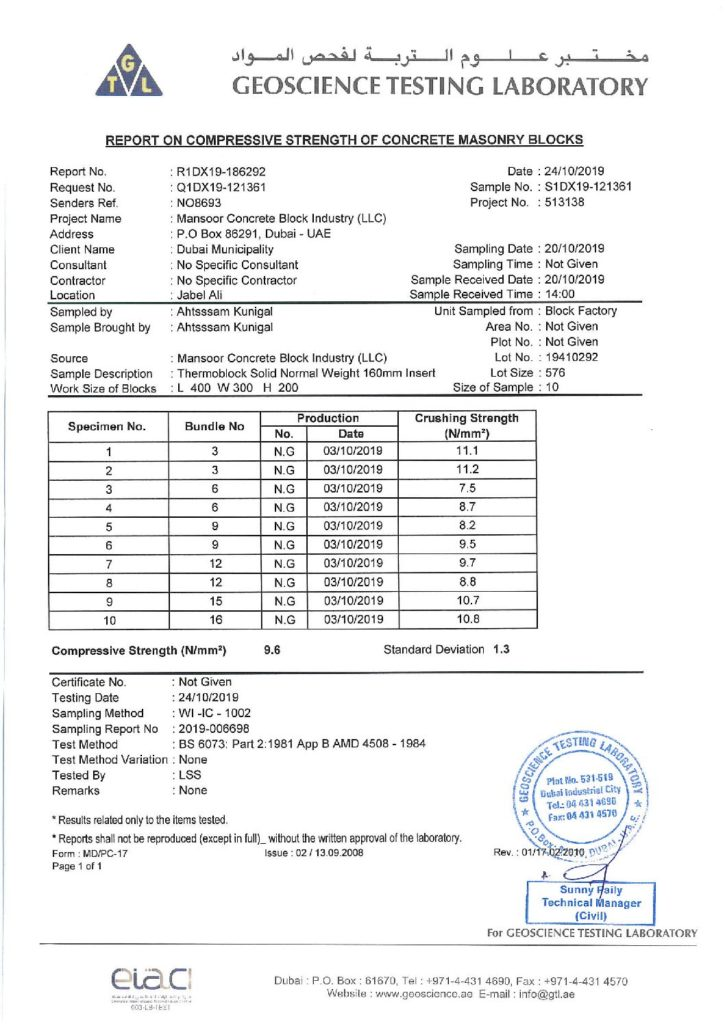 12'' THERMAL BLOCK (16O MM THERMAL INSTERT) - REPORT OF COMPRESSIVE STRENGTH