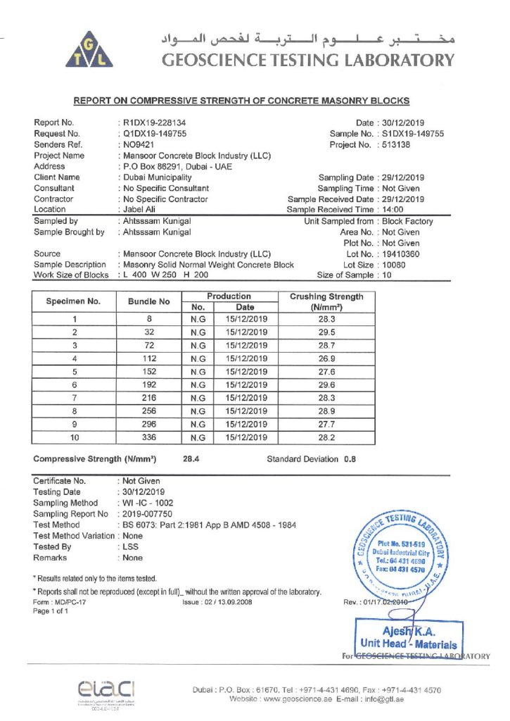 10'' SOLID BLOCKS - REPORT ON COMPRESSIVE STRENGTH