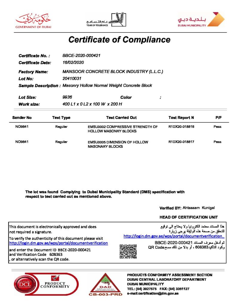 4'' HOLLOW BLOCKS - CERTIFICATE OF COMPLIANCE